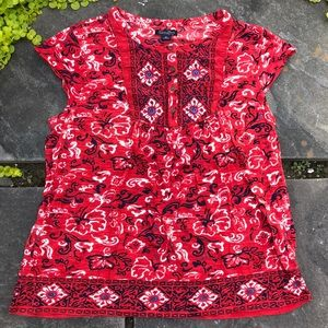 Lucky Brand Red Navy Boho Cap Sleeve Top Size XL